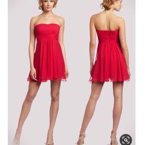 BcbgMaxAzria Duran Silk Red Strapless Dress 6